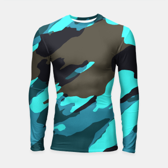camouflage splash painting abstract in green brown blue Longsleeve rashguard  thumbnail image