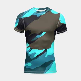 camouflage splash painting abstract in green brown blue Shortsleeve rashguard thumbnail image