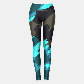 camouflage splash painting abstract in green brown blue Leggings thumbnail image
