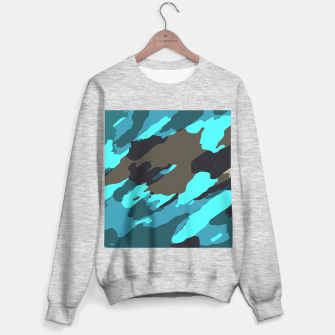 camouflage splash painting abstract in green brown blue Sweater regular thumbnail image