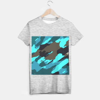 camouflage splash painting abstract in green brown blue T-shirt regular thumbnail image