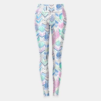 Thumbnail image of Watercolor feathers pattern pastel colors Leggings, Live Heroes
