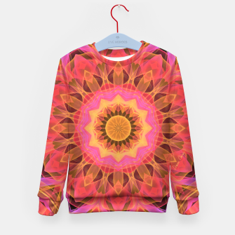 Thumbnail image of Abstract Peach Violet Mandala Ribbon Candy Lace Kid's Sweater, Live Heroes