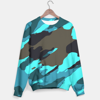 camouflage splash painting abstract in green brown blue Cotton sweater thumbnail image