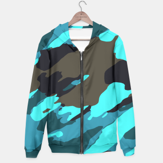 camouflage splash painting abstract in green brown blue Cotton zip up hoodie thumbnail image