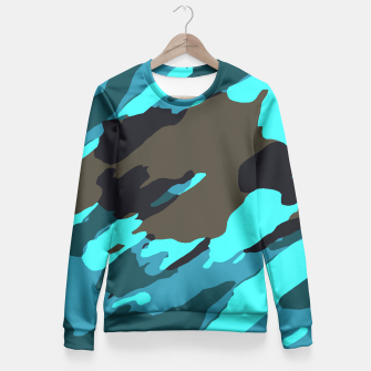camouflage splash painting abstract in green brown blue Woman cotton sweater thumbnail image