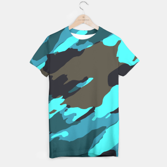 camouflage splash painting abstract in green brown blue T-shirt thumbnail image