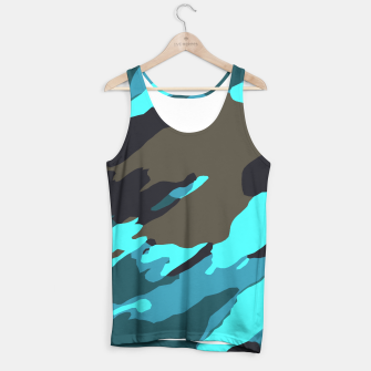 camouflage splash painting abstract in green brown blue Tank Top thumbnail image