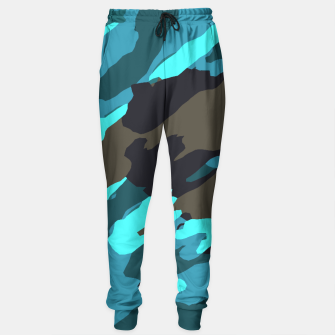 camouflage splash painting abstract in green brown blue Cotton sweatpants thumbnail image
