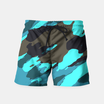camouflage splash painting abstract in green brown blue Swim Shorts thumbnail image