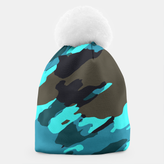 camouflage splash painting abstract in green brown blue Beanie thumbnail image