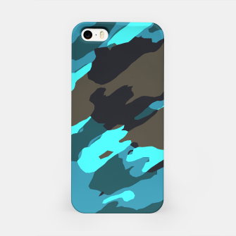 camouflage splash painting abstract in green brown blue iPhone Case thumbnail image