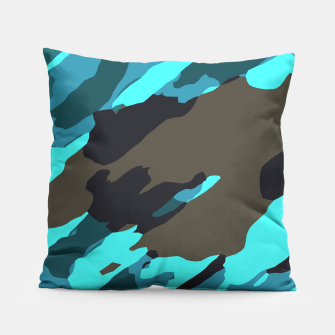 camouflage splash painting abstract in green brown blue Pillow thumbnail image