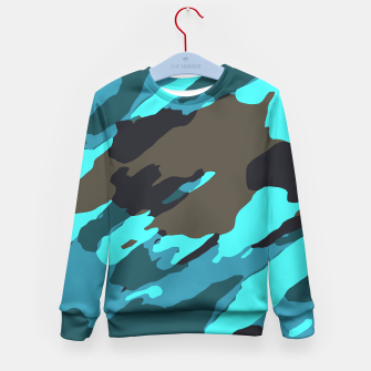 camouflage splash painting abstract in green brown blue Kid's sweater thumbnail image