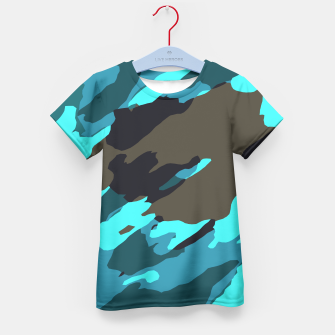 camouflage splash painting abstract in green brown blue Kid's t-shirt thumbnail image
