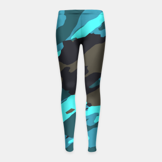 camouflage splash painting abstract in green brown blue Girl's leggings thumbnail image