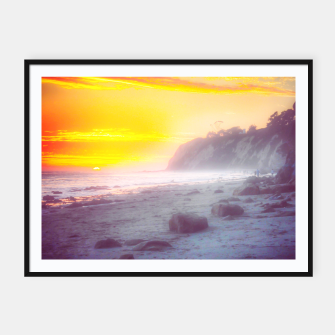 Thumbnail image of California summer beach sunset with beautiful cloudy sky Framed poster, Live Heroes