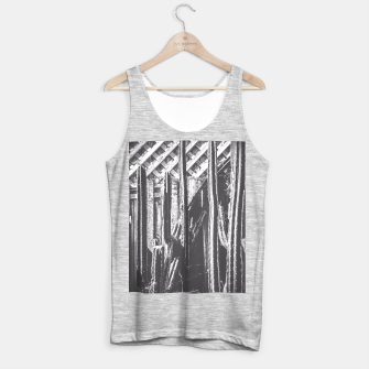Thumbnail image of cactus with wooden fence in black and white Tank Top regular, Live Heroes