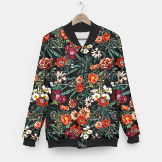 Thumbnail image of Marijuana and Floral Pattern Baseball Jacket, Live Heroes