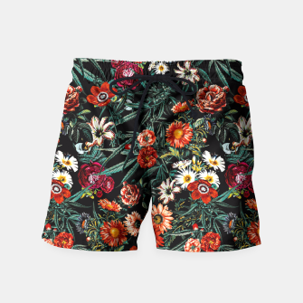 Thumbnail image of Marijuana and Floral Pattern Swim Shorts, Live Heroes
