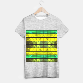 Miniaturka Abstract yellow green black pattern T-shirt regular, Live Heroes
