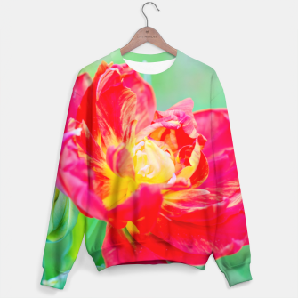 Thumbnail image of Unusual macro tulip over green background Sweater, Live Heroes