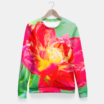 Thumbnail image of Unusual macro tulip over green background Fitted Waist Sweater, Live Heroes
