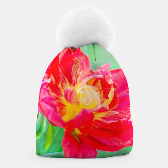 Thumbnail image of Unusual macro tulip over green background Beanie, Live Heroes