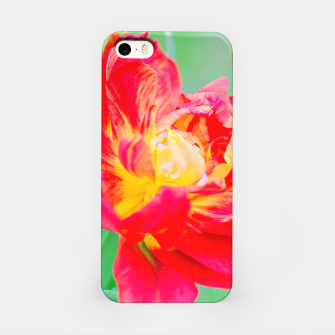 Thumbnail image of Unusual macro tulip over green background iPhone Case, Live Heroes