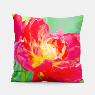 Thumbnail image of Unusual macro tulip over green background Pillow, Live Heroes