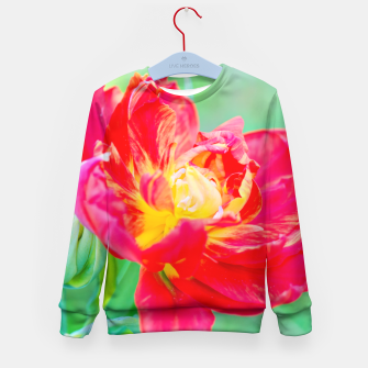 Thumbnail image of Unusual macro tulip over green background Kid's Sweater, Live Heroes