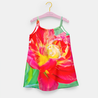 Thumbnail image of Unusual macro tulip over green background Girl's Dress, Live Heroes