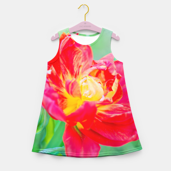 Thumbnail image of Unusual macro tulip over green background Girl's Summer Dress, Live Heroes