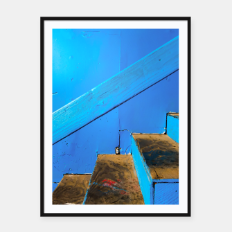 Thumbnail image of blue and brown old wood stairs with blue wall background Framed poster, Live Heroes
