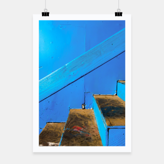 Thumbnail image of blue and brown old wood stairs with blue wall background Poster, Live Heroes