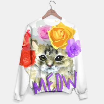 Thumbnail image of Cute Kitty Cat Meow Floral Graphic Sweater, Live Heroes
