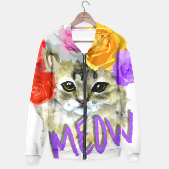 Thumbnail image of Cute Kitty Cat Meow Floral Graphic Hoodie, Live Heroes