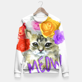 Thumbnail image of Cute Kitty Cat Meow Floral Graphic Fitted Waist Sweater, Live Heroes