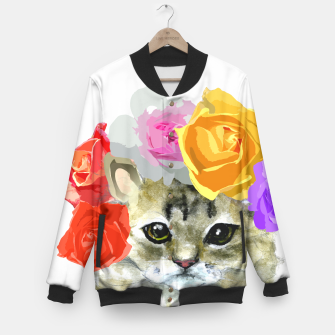 Thumbnail image of Cute Kitty Cat Meow Floral Graphic Baseball Jacket, Live Heroes
