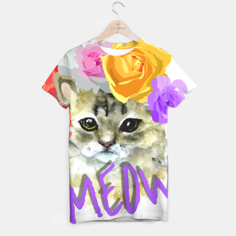 Thumbnail image of Cute Kitty Cat Meow Floral Graphic T-shirt, Live Heroes