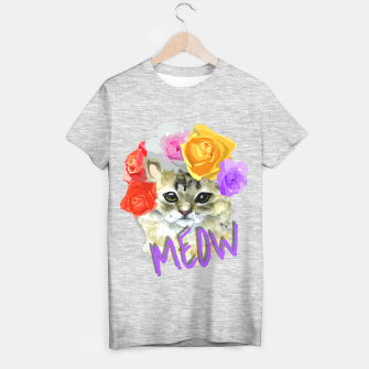 Thumbnail image of Cute Kitty Cat Meow Floral Graphic T-shirt regular, Live Heroes