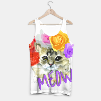 Thumbnail image of Cute Kitty Cat Meow Floral Graphic Tank Top, Live Heroes