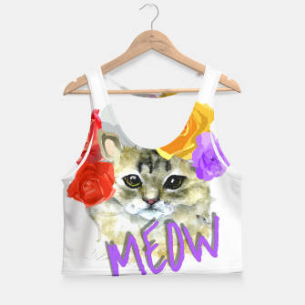 Thumbnail image of Cute Kitty Cat Meow Floral Graphic Crop Top, Live Heroes