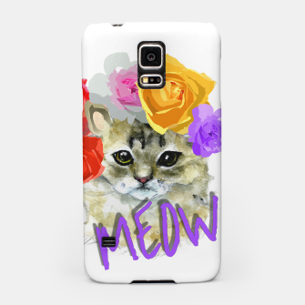Thumbnail image of Cute Kitty Cat Meow Floral Graphic Samsung Case, Live Heroes