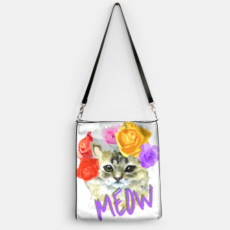 Thumbnail image of Cute Kitty Cat Meow Floral Graphic Handbag, Live Heroes