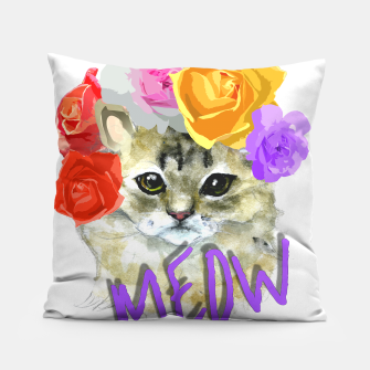 Thumbnail image of Cute Kitty Cat Meow Floral Graphic Pillow, Live Heroes