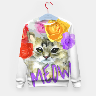 Thumbnail image of Cute Kitty Cat Meow Floral Graphic Kid's Sweater, Live Heroes