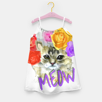 Thumbnail image of Cute Kitty Cat Meow Floral Graphic Girl's Dress, Live Heroes