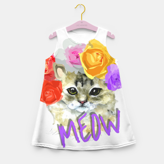 Thumbnail image of Cute Kitty Cat Meow Floral Graphic Girl's Summer Dress, Live Heroes