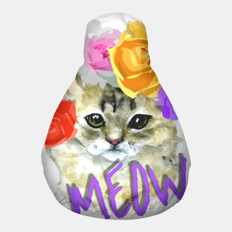 Thumbnail image of Cute Kitty Cat Meow Floral Graphic Pouf, Live Heroes